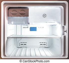 belső, feláll, mélyhűtő, hűtőgép, becsuk, fehér, üres