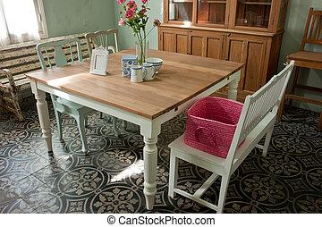 belső, gyönyörű, tervezés, szoba, étkező