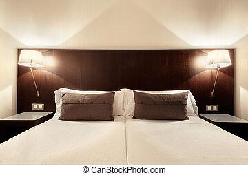 belső, hálószoba, modern, tervezés