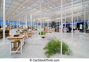 belső, hely, ipari, modern, műhely