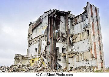 belső, ipari, lerombol, épület, kommunikatsiy., maradványok