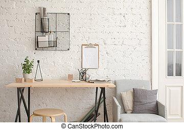 belső, irodaszer, fehér, galambdúc, íróasztal