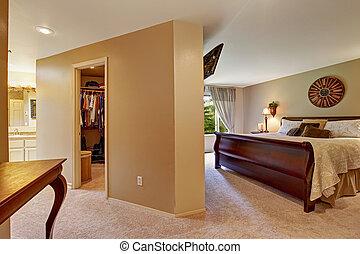 belső, jár, tágas, beépített szekrény, hálószoba