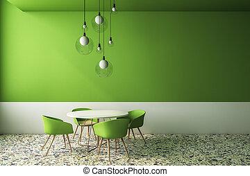belső, kávéház, zöld, fényűzés