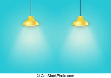 belső, kék, lámpa, sárga, szüret, fal