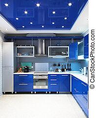 belső, kék, modern, konyha
