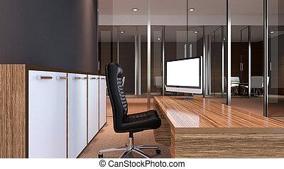 belső, közül, a, modern, hivatal, alatt, a, highlands., 3, rendering.