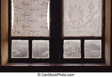 belső, közül, egy, öreg, fából való, ablak