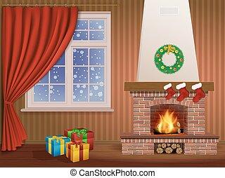 belső, kandalló, karácsony