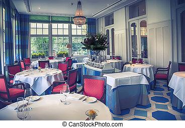 belső, klasszikus, étterem