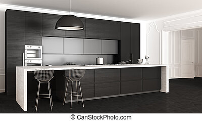 belső, konyha, klasszikus, tervezés, minimalistic