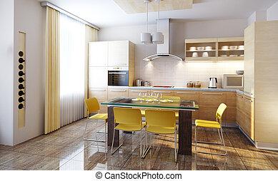 belső, konyha, modern, render, 3