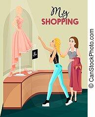 belső, leány, bevásárlás, bolt