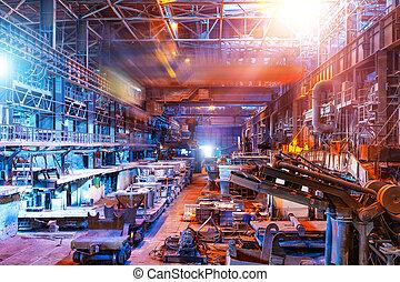 belső, műhely, berendezés, metallurgical