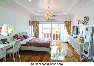 belső, modern hely, ágy