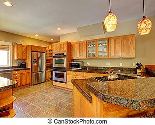 belső, modern hely, konyha