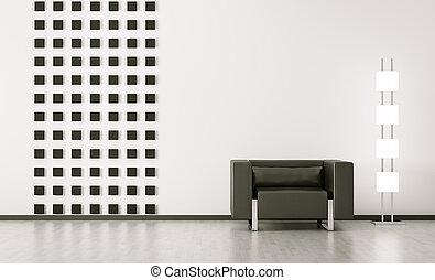 belső, modern hely, render, 3