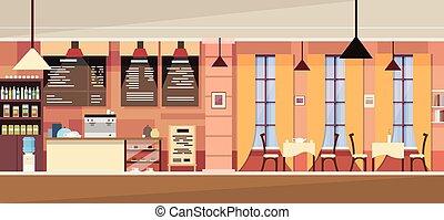 belső, modern, kávéház, üres
