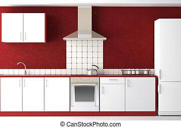 belső, modern, tervezés, konyha