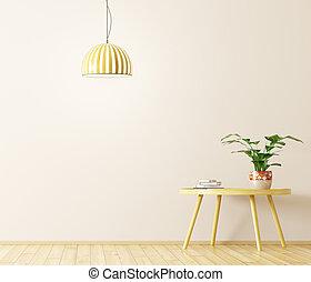 belső, noha, alacsony kávézóasztal, és, lámpa, 3, vakolás