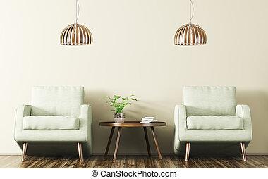 belső, noha, két, karosszék, és, alacsony kávézóasztal, 3, vakolás