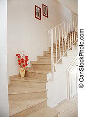belső, otthon, -, lépcsősor