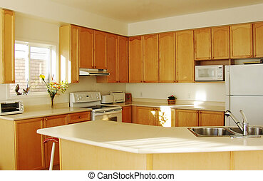 belső, otthon, modern, konyha