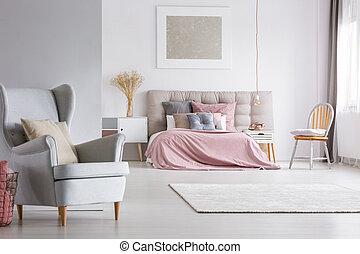 belső, pasztell, hálószoba, tágas, fény