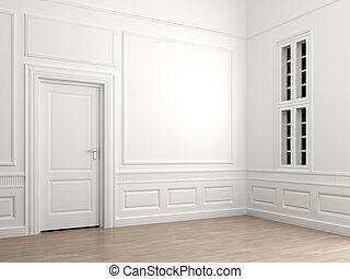 belső, sarok, szoba, üres, klasszikus