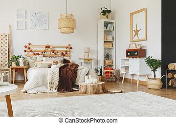 belső, scandi, tágas, hálószoba