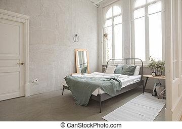 belső, szürke, fehér, kényelmes, hálószoba