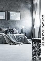 belső, szürke, pártatlan, tervezés, hálószoba