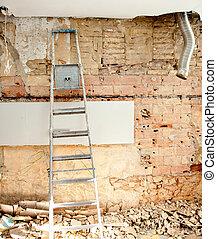 belső, szerkesztés, törmelék, pusztítás, konyha