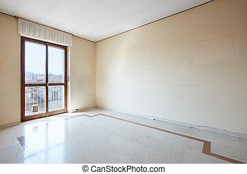 belső, szoba, márvány, üres, emelet