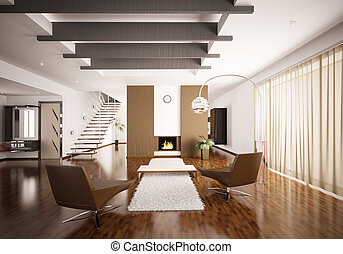 belső, szoba, modern, render, 3
