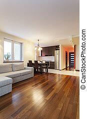belső, szoba, modern, -, tágas