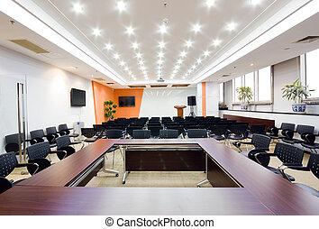belső, tanácskozóterem, modern, hivatal