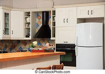 belső, tartózkodási, modern, konyha