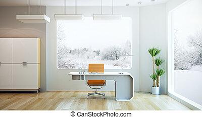 belső tervezés, közül, modern, hivatal