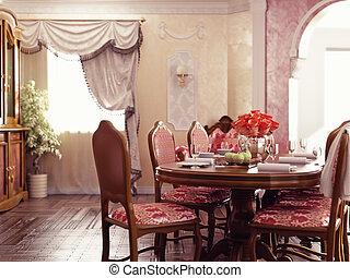 belső, vacsora, szoba