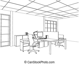 belső, vektor, lakás, hivatal