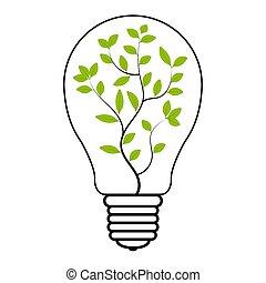 belső, zöld, energia, fény, villanyáram, vektor, megmentés, aláír, eco, berendezés, fa, gumó, megújítható, jelkép, energia