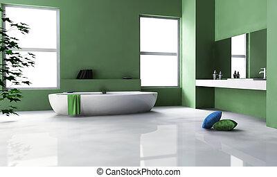 belső, zöld, fürdőszoba, tervezés