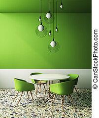 belső, zöld, kávéház, modern