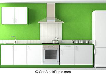 belső, zöld, modern, tervezés, konyha