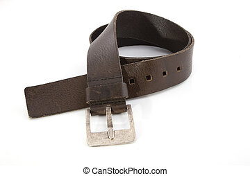 A brown leather belt on a white background.