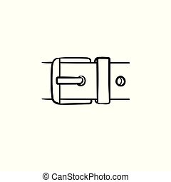 Belt buckle hand drawn sketch icon.