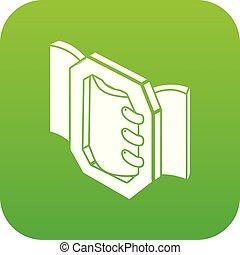 Belt buckle icon green vector