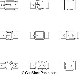 Belt buckle icon set, outline style