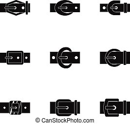 Belt buckle icon set, simple style
